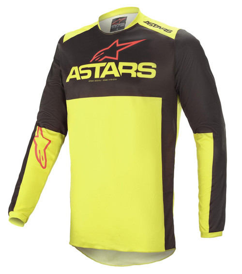 Alpinestars 2021 Fluid Tripple MX Jersey Black Yellow Fluo Bright Red
