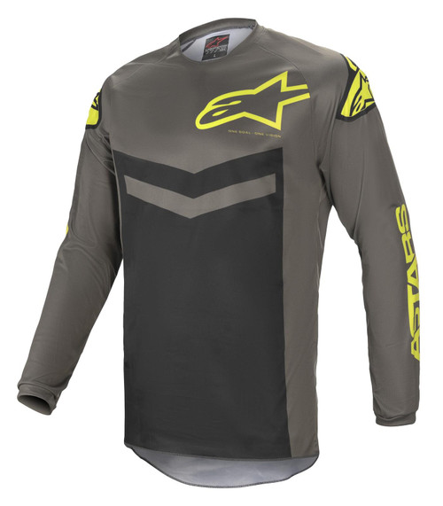 Alpinestars 2021 MX Jersey Fluid Dark Gray Yellow Fluo