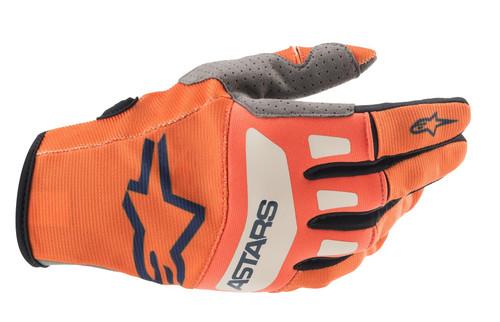 Alpinestars 2021 Techstar MX Gloves Orange Dark Blue Off White