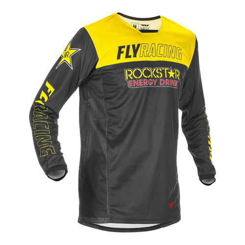 Fly Racing 2021 Kinetic Rockstar Adult MX Jersey yellow/Black