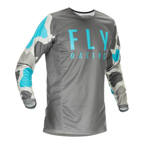 Fly Racing 2021 Kinetic K221 Youth MX Jersey Grey/Blue