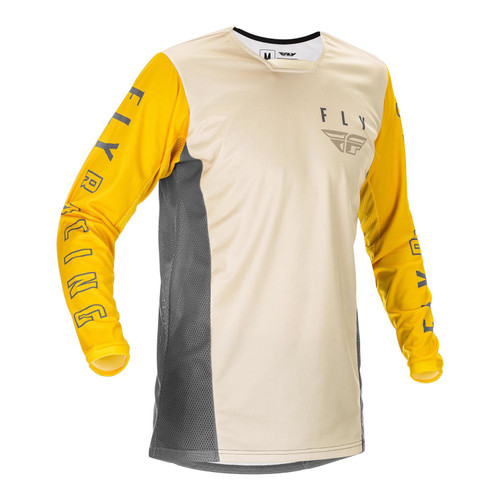 Fly Racing 2021 Kinetic K121 Adult MX Jersey Mustard/Stone/Grey
