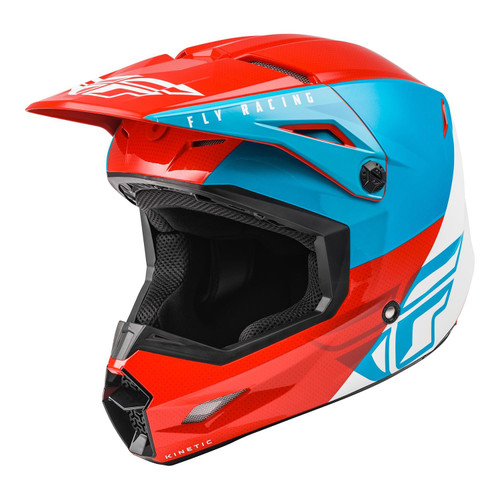 Fly Racing 2021 Youth Kinetic Straight Edge MX Helmet Red/White/Blue