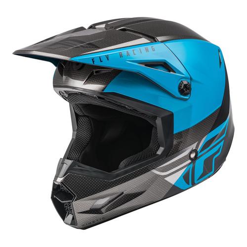 Fly Racing 2021 Youth Kinetic Straight Edge MX Helmet Blue/Grey/Black