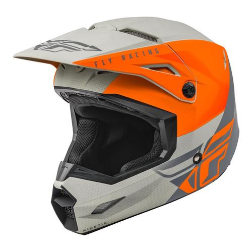 Fly Racing 2021 Kinetic Straight Edge MX Helmet Matt Orange/Grey