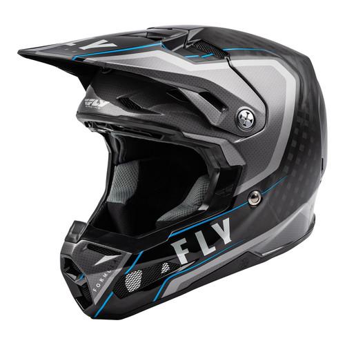 Fly Racing 2021 MX Helmet Formula Carbon Axon Black/Grey/Blue