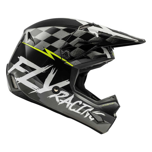 Fly Racing 2021 Youth Kinetic Sketch MX Helmet Black/White/Hi-Viz