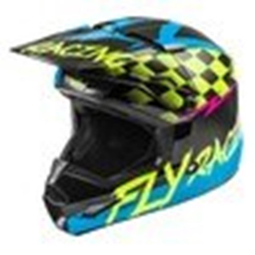 Fly Racing 2021 Youth Kinetic Sketch MX Helmet Blue/Hi-Viz/Black/Pink