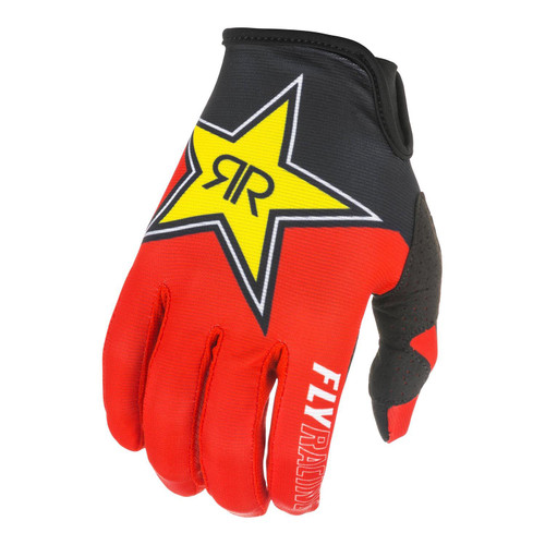 Fly Racing 2021 Adult Lite Rockstar MX Gloves Black/Red/Yellow