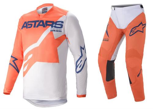 Alpinestars 2021 Racer Braap Adult MX Gear Orange/Light Grey/Dark Blue