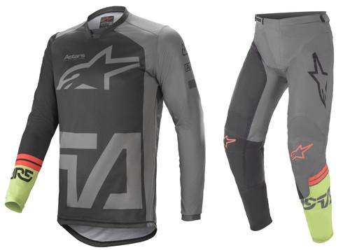 Alpinestars 2021 Racer Compass Adult MX Gear Black/Dark Grey/Green Fluo