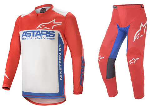 Alpinestars 2021 Racer Supermatic Adult MX Gear Bright Red/Blue/ Off White