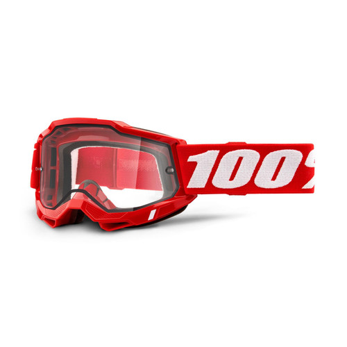 100 Percent ACCURI 2 Enduro Moto Goggle Red - Clear Lens