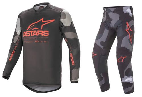 Alpinestars 2021 Racer Tactical Adult MX Gear Grey Camo/Red Fluo