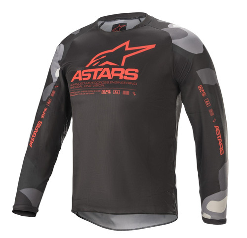 Alpinestars Youth 2021 Racer Tactical MX Jersey Grey Camo/Red Fluo