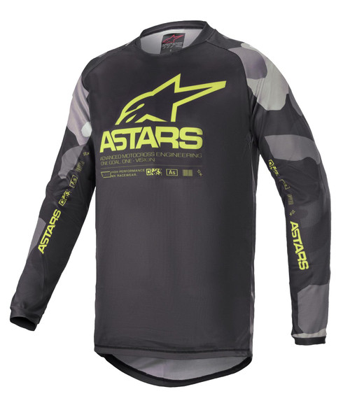 Alpinestars Youth 2021 Racer Tactical MX Jersey Grey Camo/Yellow Fluo