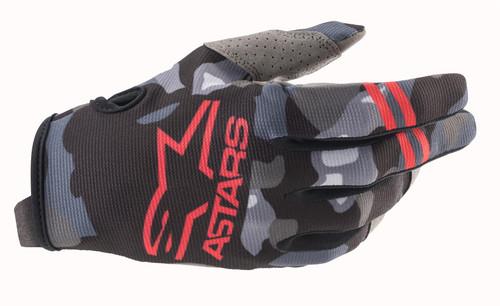 Alpinestars 2021 Radar MX Gloves Grey Camo/Red Fluo