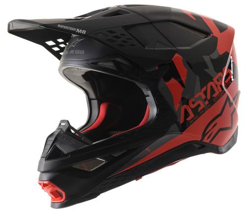 Alpinestars Supertech S-M8 Echo MX Helmet Black Grey Red Fluo