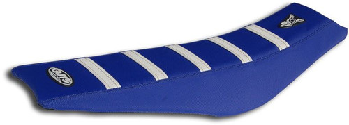 GUTS Racing Ribbed VS seat cover Blue w White Ribs YZ65 18-20