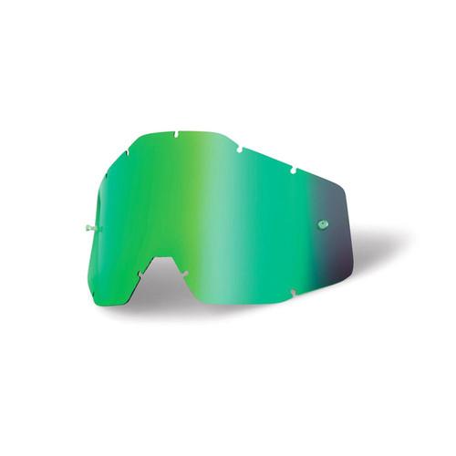 100 Percent RACECRAFT/ACCURI/STRATA Replacement Lens Green Mirror Anti-Fog