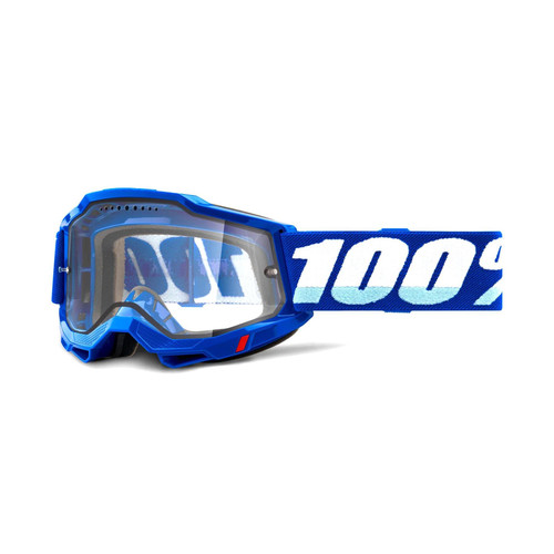 100 Percent ACCURI 2 Enduro MTB Goggle Blue - Clear Vented Dual Lens FA20 Adult