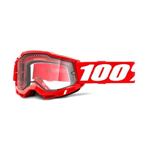 100 Percent ACCURI 2 Enduro MTB Goggle Red - Clear Vented Dual Lens FA20 Adult