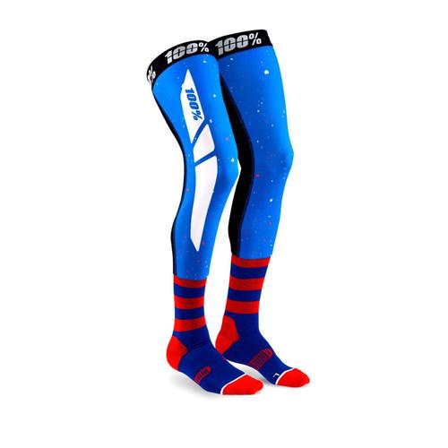 REV Knee Brace Performance Moto Socks Blue/Red L/XL