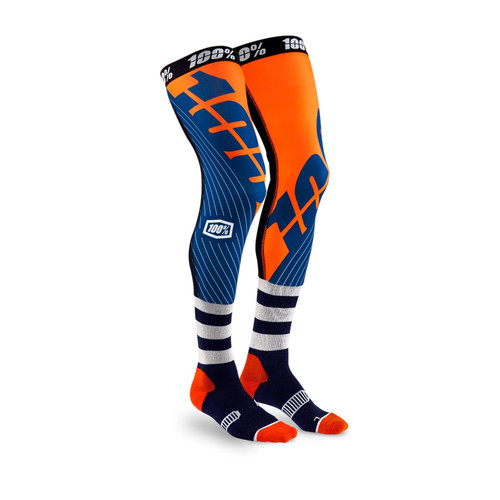 REV Knee Brace Performance Moto Socks Navy/Orange S/M
