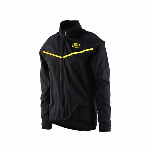 100% Corridor Stretch Windbreaker Jacket Black/Yellow