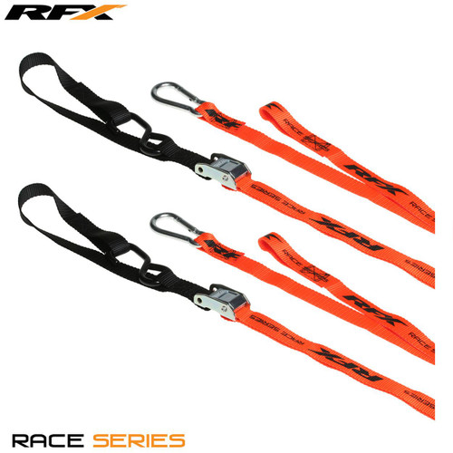 RFX Race Series 1.0 Tie Downs (Orange/Black) with extra loop and carabiner clip
