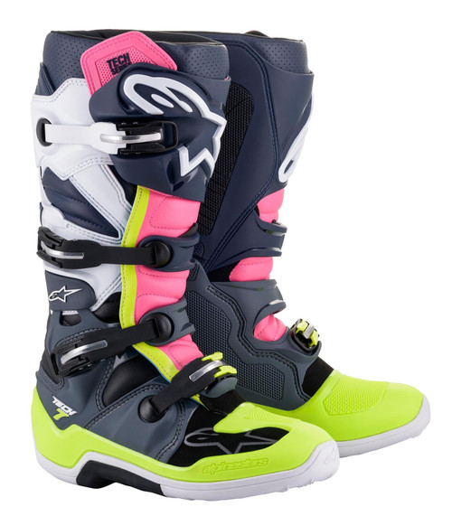 Alpinestars Tech 7 Motocross Boots Grey/Dark Blue/Pink