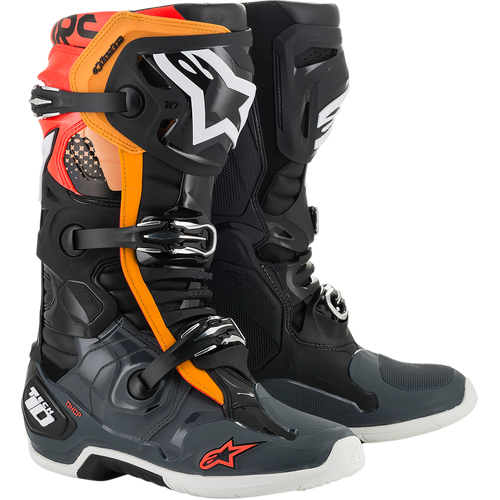 Alpinestars 2021 Tech 10 Motocross Boots Black/Grey/Orange/Red