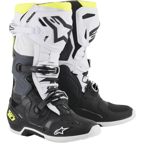Alpinestars 2021 Tech 10 Motocross Boots Black/White/Flo Yellow