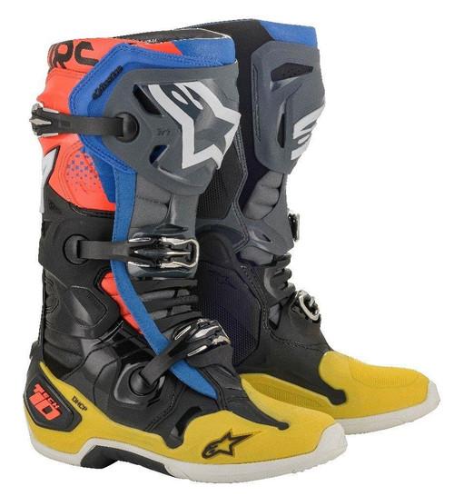 Alpinestars 2021 Tech 10 Motocross Boots Black/Yellow/Blue/Red Fluo