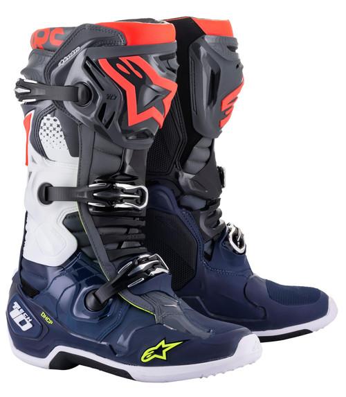 Alpinestars Tech 10 Motocross Boots Dark Grey/Dark Blue/Red Fluo