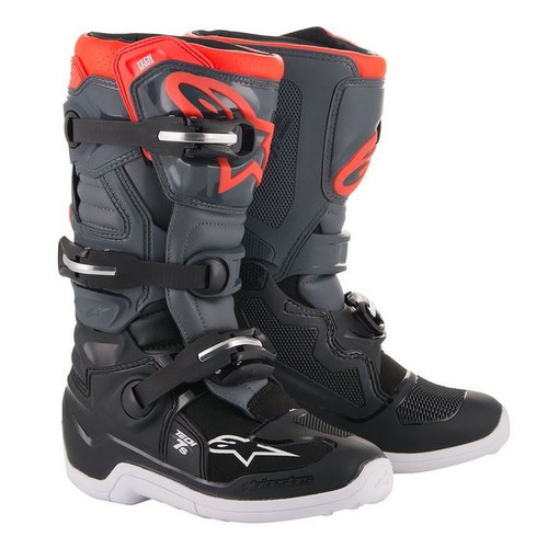 Alpinestars Tech 7S Youth Boots Black/Dark Gray/Red Fluo