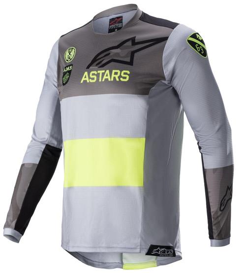 Alpinestars 2021 Adult Techstar MX Jersey AMS Limited Edition Grey Yellow Fluo Black