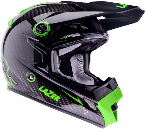 2015 Lazer MX-8 Pure Carbon Helmet Black Carbon/Green