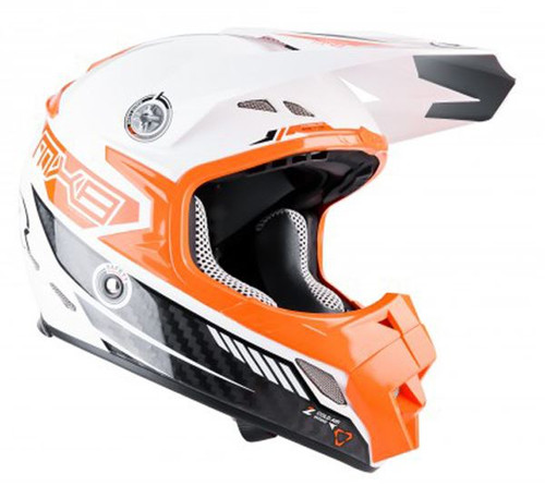 2015 Lazer MX-8 Lazer Carbon Tech Helmet White/Orange
