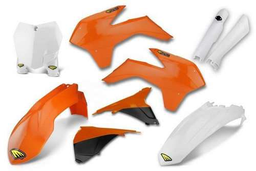 Cycra Powerflow Full Body Plastic Body Kit KTM 125 SXF/XC/XCF 2015, SX250 Orange/White