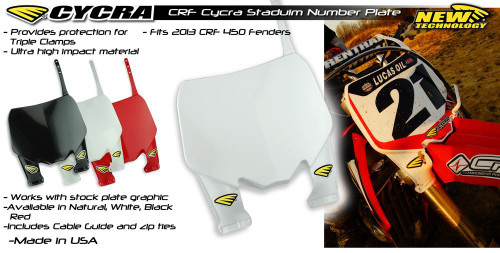 Cycra Front Number Plate Honda CRF 450 13-16 White