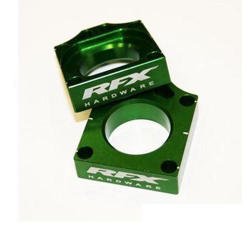 RFX Pro Rear Axle Adjuster Blocks (Green) Kawasaki KX125/250 03-08 KXF250/450 04-14 KLX450 08-14