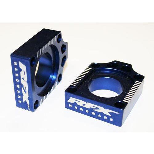 RFX Pro Rear Axle Adjuster Blocks (Blue) Yamaha YZF250/450 09-13