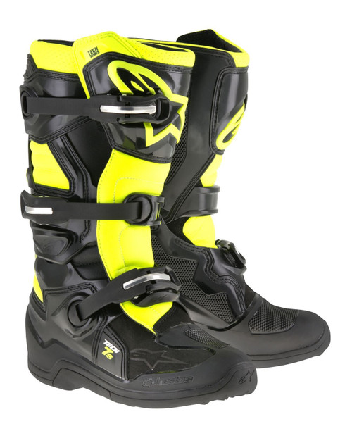 Alpinestars Tech 7S Youth Boots Black/Fluo Yellow