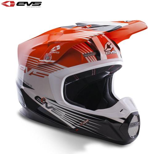 EVS T5 Works Motocross Helmet Orange/White/Black