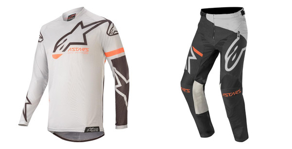 2020 Alpinestars Youht Racer Compass MX Gear Combo Light Grey/Black