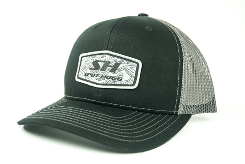 Spot-Hogg Logo Patch Hat, Black Front with Charcoal Mesh
