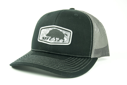 Hog Patch Hat, Black Front with Charcoal Mesh Back