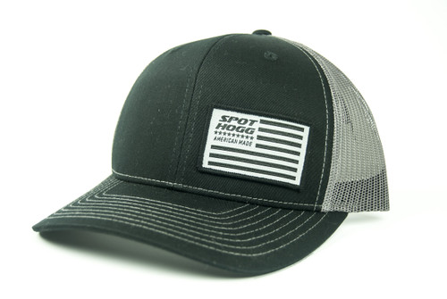 Flag Patch Hat, Black Front with Charcoal Mesh Back