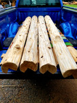 """Vertical whole log corners with 7-8"""" top"""